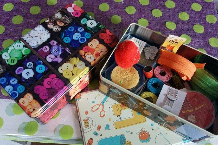 Cajas para costura, con estampado de botones, cajas ale-hop