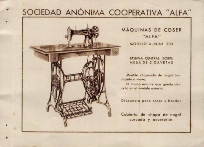 alfa maquina de coser mod A Num. 503