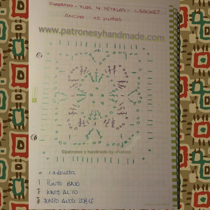 Patrón Crochet cuadro tejido con diseño de flor