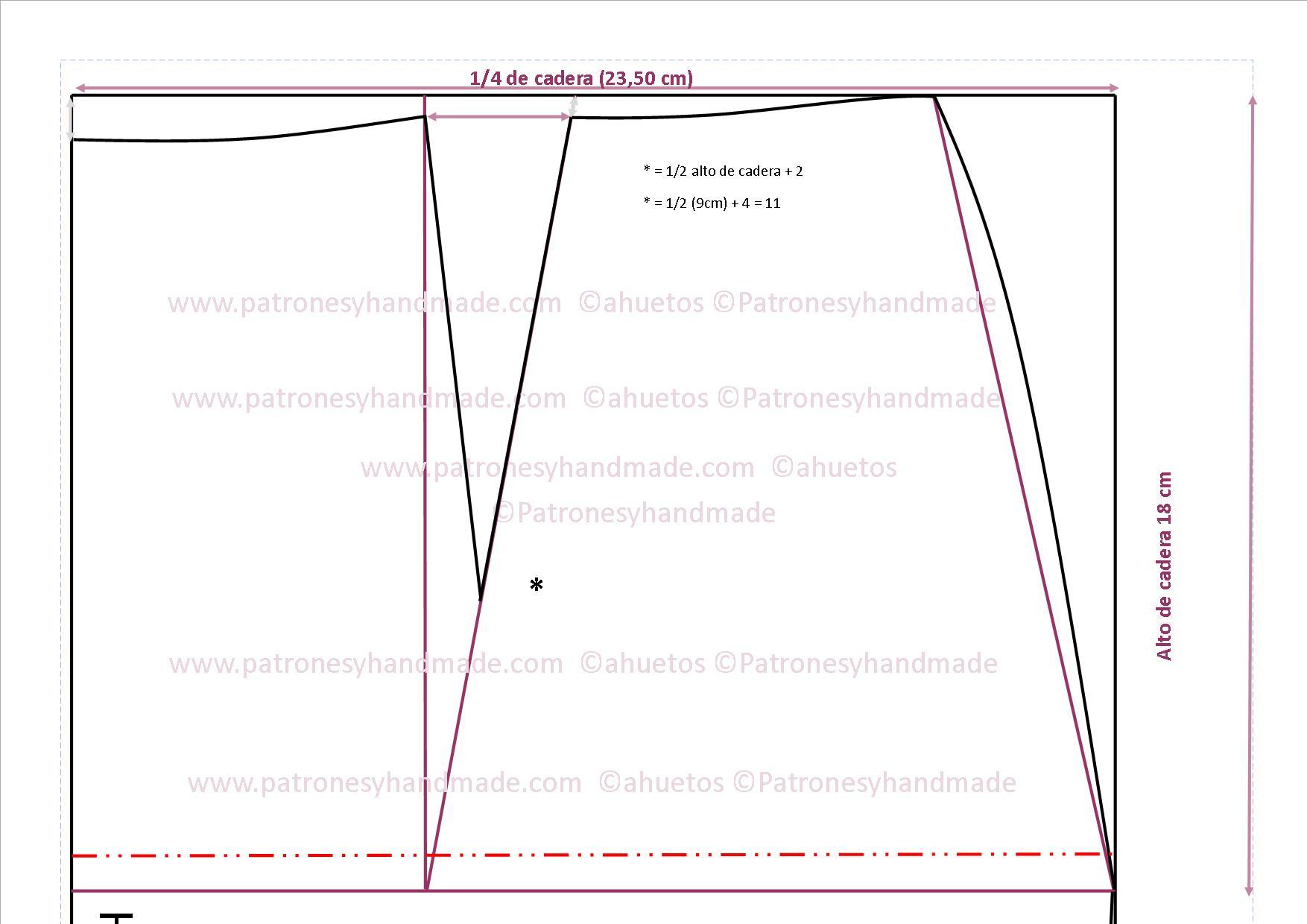 Patrón fácil: Falda recta pinzas al eje y cinturilla I – Patrones y ...