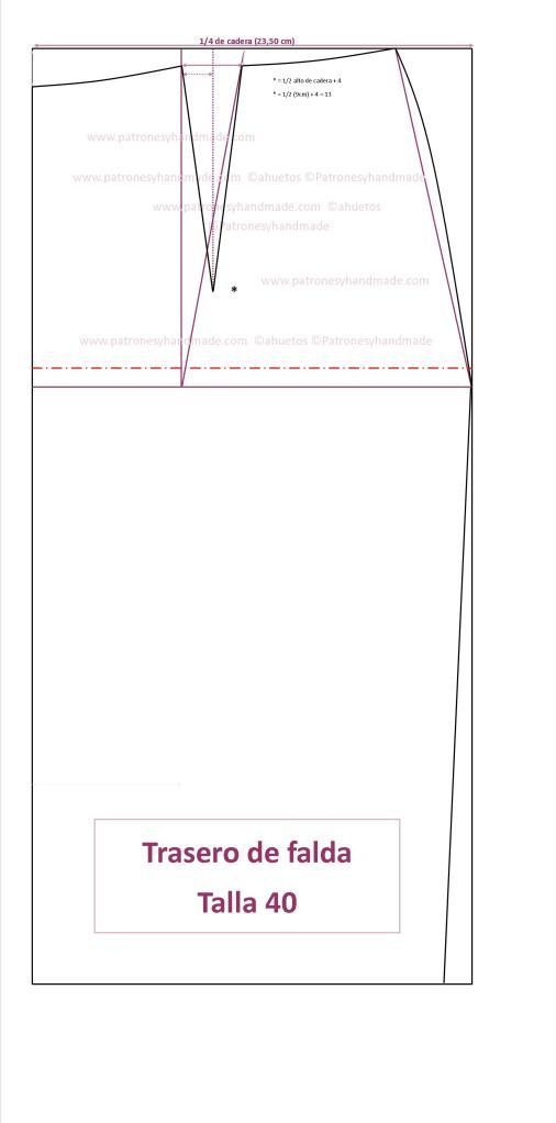 Trasero falda recta t.40 transformado pinzas al eje imagen