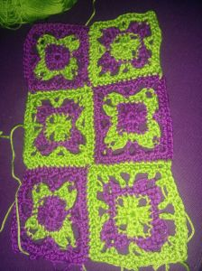 Granny sencillo colores complementarios unidos, crochet, ganchillo, iniciación